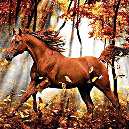 AIRDEA DIY 5D Diamond Painting by Number Kit, Full Drill Running Horse Forest Rhinestone Embroidery Cross Stitch Supply Arts Craft Canvas Wall Decor 11.8x11.8 inch
