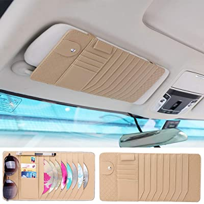 Yijueled CD Sun Visor Organizer CD DVDs Storage Case Holder Leather Vehicle Organizer Pockets Organization for Car Credit Cards Pockets Sunglasses Pen Holder: Automotive