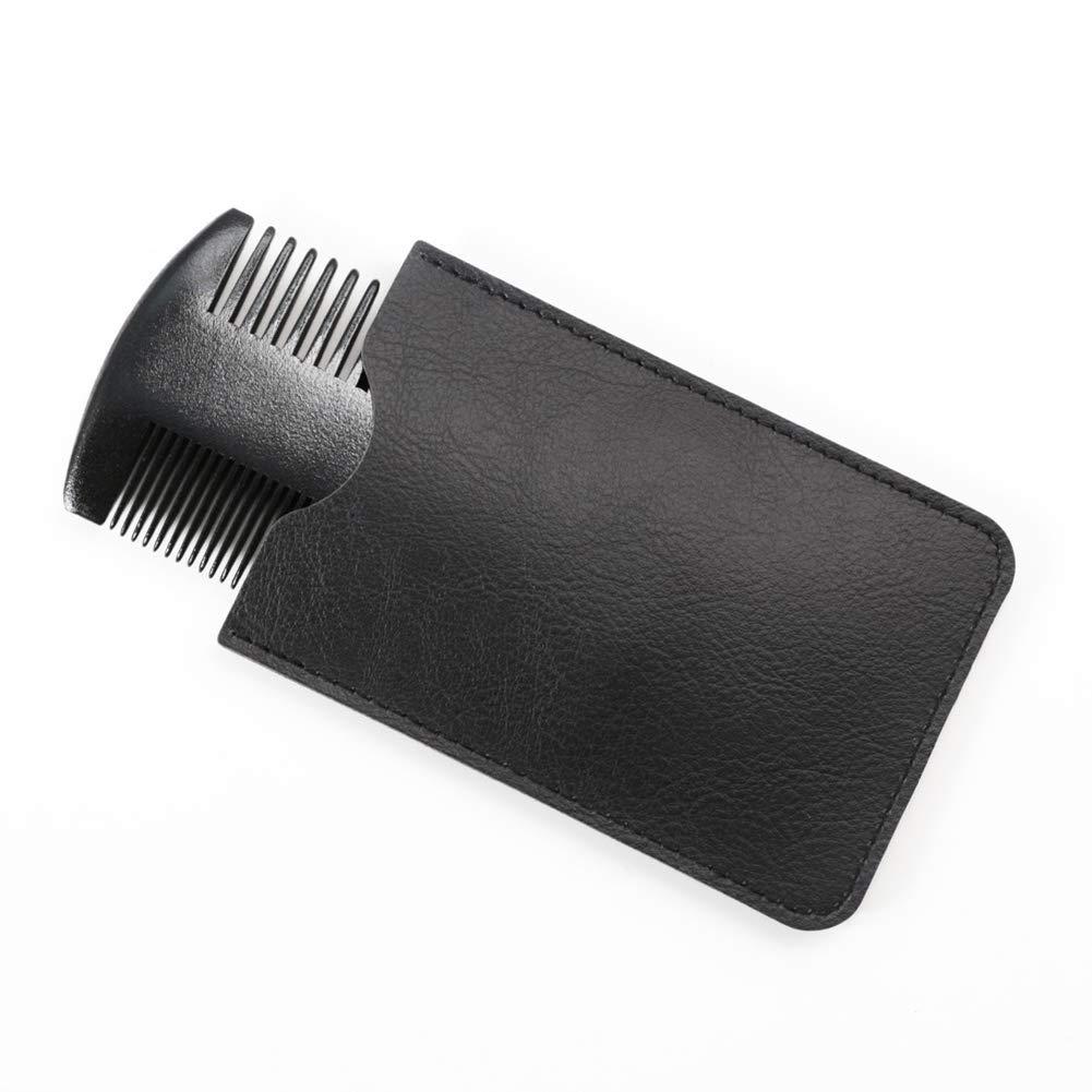 WFZ17 - Peine de barba para hombre (madera de pera, antiestático, no estático, doble acción, peine con funda)