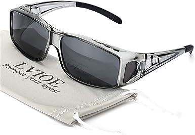 LVIOE Wrap Around Sunglasses, Polarized Lens Wear Over Prescription Glasses, Fit Over Regular Glasses with 100% UV Protection