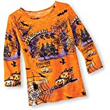 Festive Spooky Halloween Night Orange Sequin Knit Top Shirt with 3/4 Length Sleeves