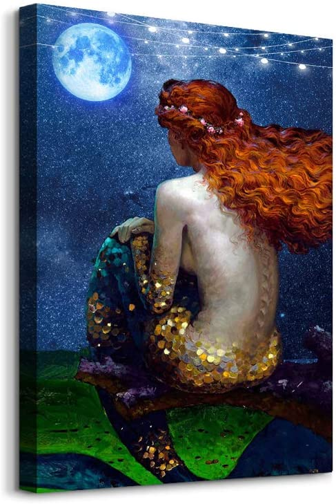 Mermaid Wall Decor for Bathroom canvas Wall Art for Bedroom family Wall Decor Modern Girls Room wall Paintings pictures Framed Wall Decorations for office kitchen Canvas Prints for Walls Ready to Hang