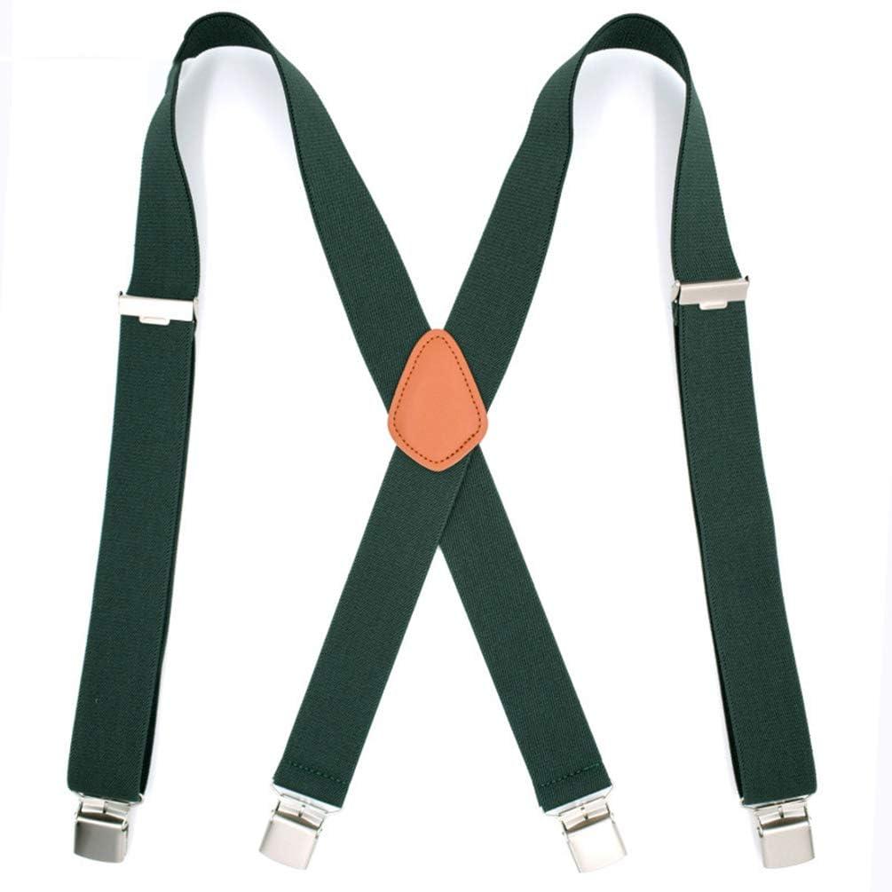SupSuspen Men Solid Color X Back Suspenders 1.4 Heavy Duty Braces/&4 Metal Clip
