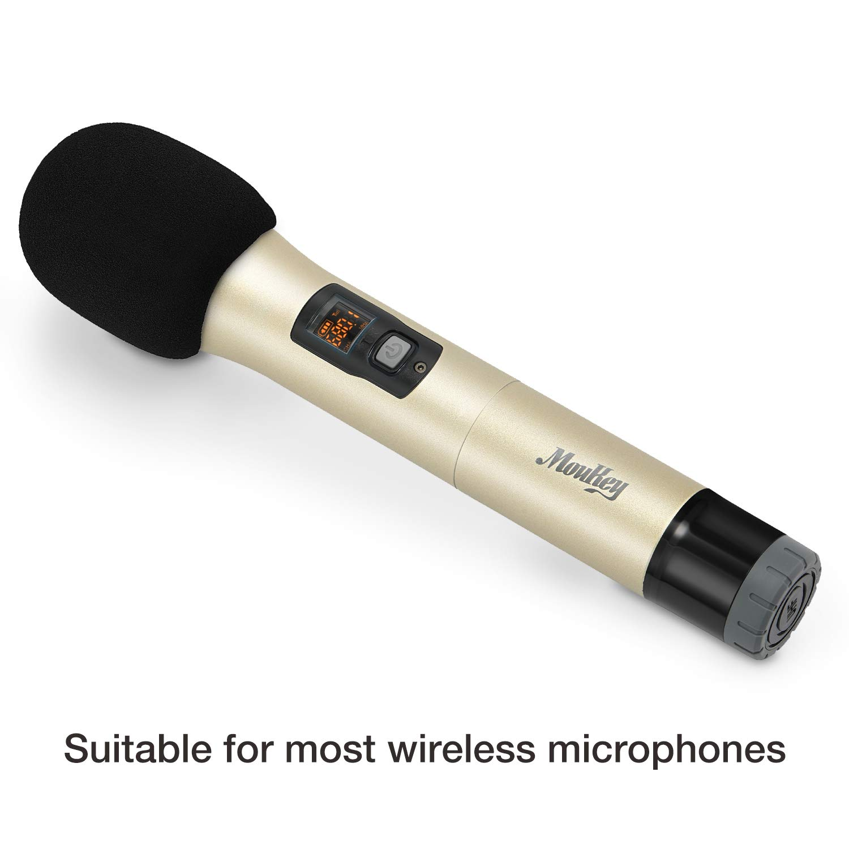Moukey Microphone Mic Covers Foam Handheld Mic Windscreen Black Pack of 6