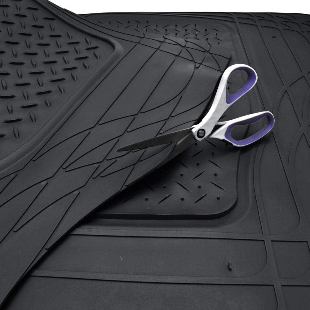 Black Motor Trend Flextough Rubber Car Floor Mats /& Cargo Trunk Mat Set Black Heavy Duty Extreme Duty - MT-773-884-BK Odorless