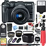 Canon M6 EOS 24.2MP Mirrorless Digital Camera with EF-M 15-45mm IS STM Lens (Black) + 64GB Extreme SDXC Memory UHS-I Card + Accessory Bundle