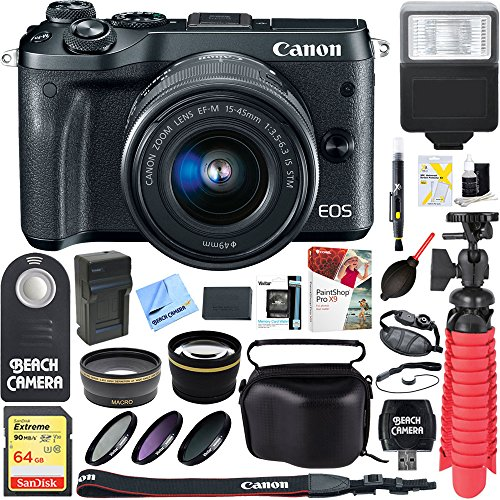 Canon M6 EOS 24.2MP Mirrorless Digital Camera with EF-M 15-45mm IS STM Lens (Black) + 64GB Extreme SDXC Memory UHS-I Card + Accessory Bundle by Beach Camera