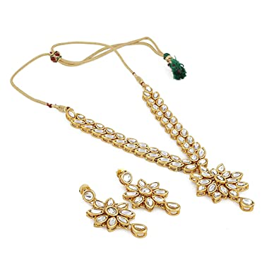 89e6e842ab7de1 Buy Shining Diva Fashion Jewelry Gold Plated Kundan Fancy Necklace  Traditional Jewellery Set with Earrings for Women & Girls (White)(9602s)  Online at Low ...