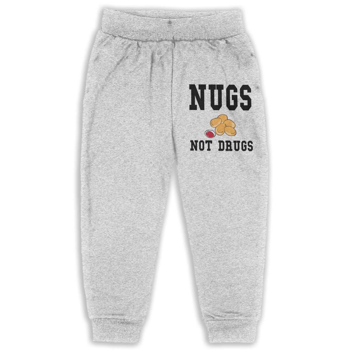 2-6 Years Age 2T-6T JAWANNA Nugs Not Drugs Boys Cotton Sweatpants Gray