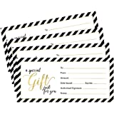 25 4x9 Gold Blank Gift Certificate Cards Vouchers for Holiday, Christmas, Birthday Holder, Small Business, Restaurant…