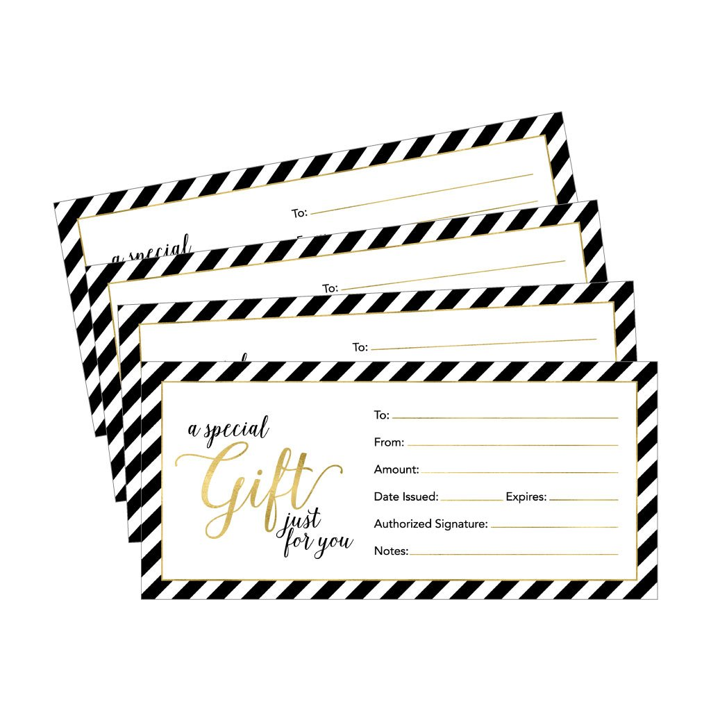 25 4x9 Gold Blank Gift Certificate Cards Vouchers For Holiday Christmas Birthday Holder Small Business Restaurant Spa Beauty Makeup Hair Salon