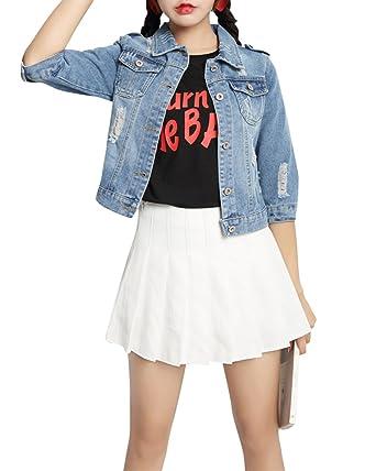 Jean Denim Taille Femme Manteau Grande Jeans Veste Blouson En qBwAHEz