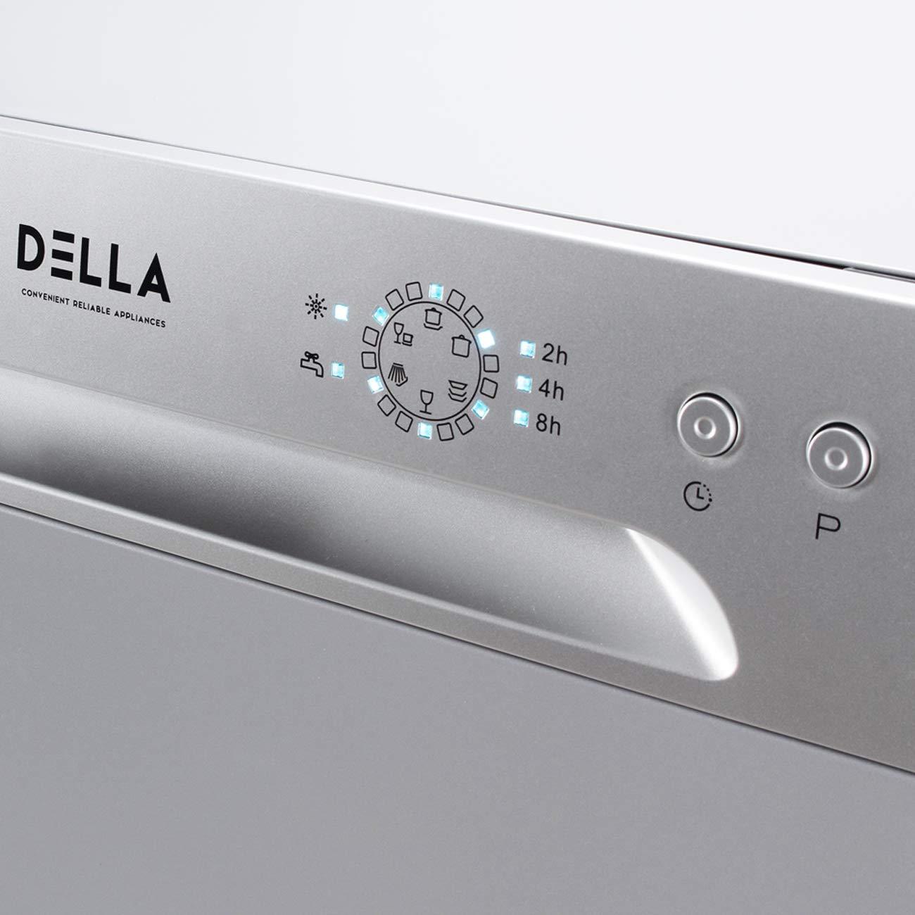 DELLA Portable Compact Countertop Dishwasher 6 Wash Cycles Dishwashers Setting Racks Silverware Basket Black