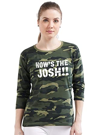 098a9d5e89 Wear Your Opinion WYO Women's Army Military Camouflage Printed 3/4th  Sleeeve Top T-Shirt (How's The Josh): Amazon.in: Clothing & Accessories