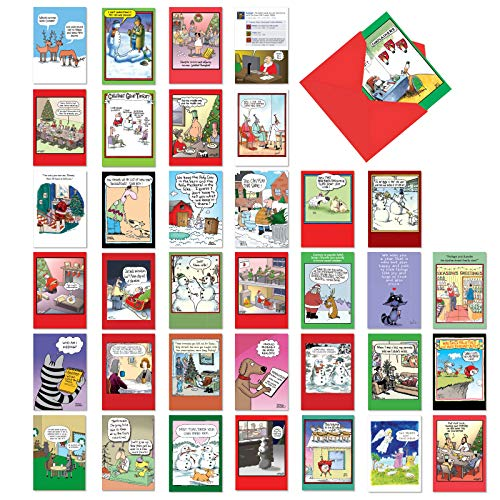 36 Pack of Favorite Holiday Toons - Boxed Assortment of Funny Christmas and New Year
