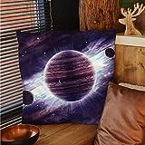 sunsunshine Galaxy decorative pillow covers Outer Space Theme Planets Saturn Mars Neptune Science Fiction Solar Scene Artprint pillow cases Mauve Purple