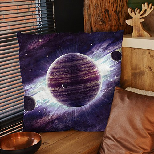 sunsunshine Galaxy decorative pillow covers Outer Space Theme Planets Saturn Mars Neptune Science Fiction Solar Scene Artprint pillow cases Mauve Purple by sunsunshine
