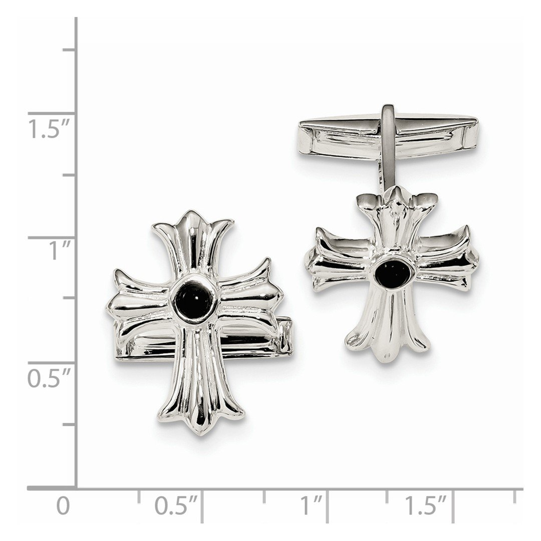 ICE CARATS 925 Sterling Silver Black Onyx Cross Religious Cuff Links Mens Cufflinks Link Fine Jewelry Dad Mens Gift Set by ICE CARATS (Image #2)