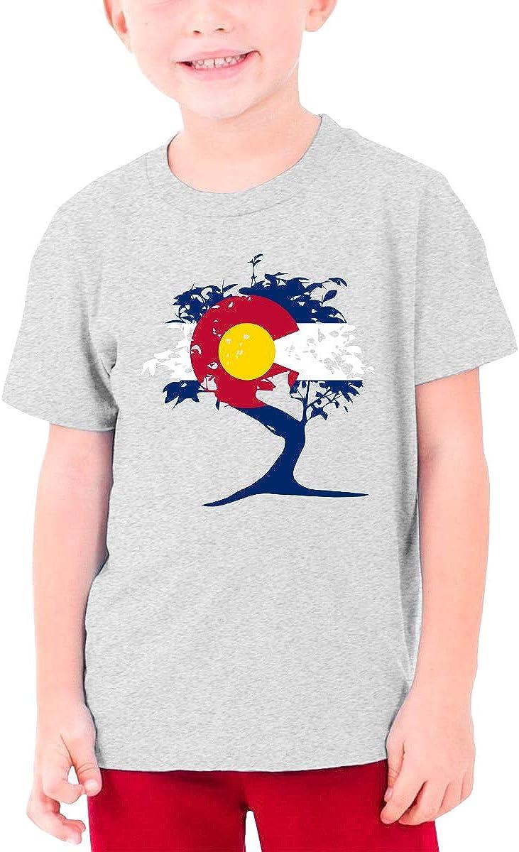 EROTEN Japanese Bonsai Tree Colorado Cotton Youth T Shirts Short Sleeve for Teenager Boys Girls Gray
