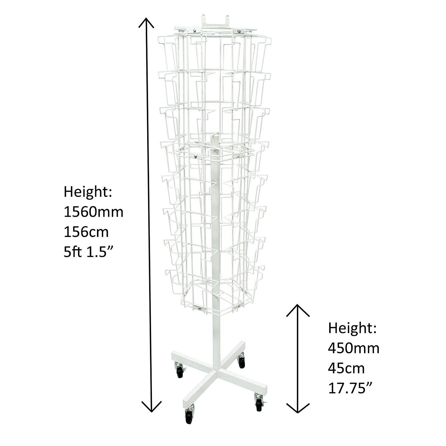 A5 Portrait Rotating Floor Stand J15W in White 40 Pockets