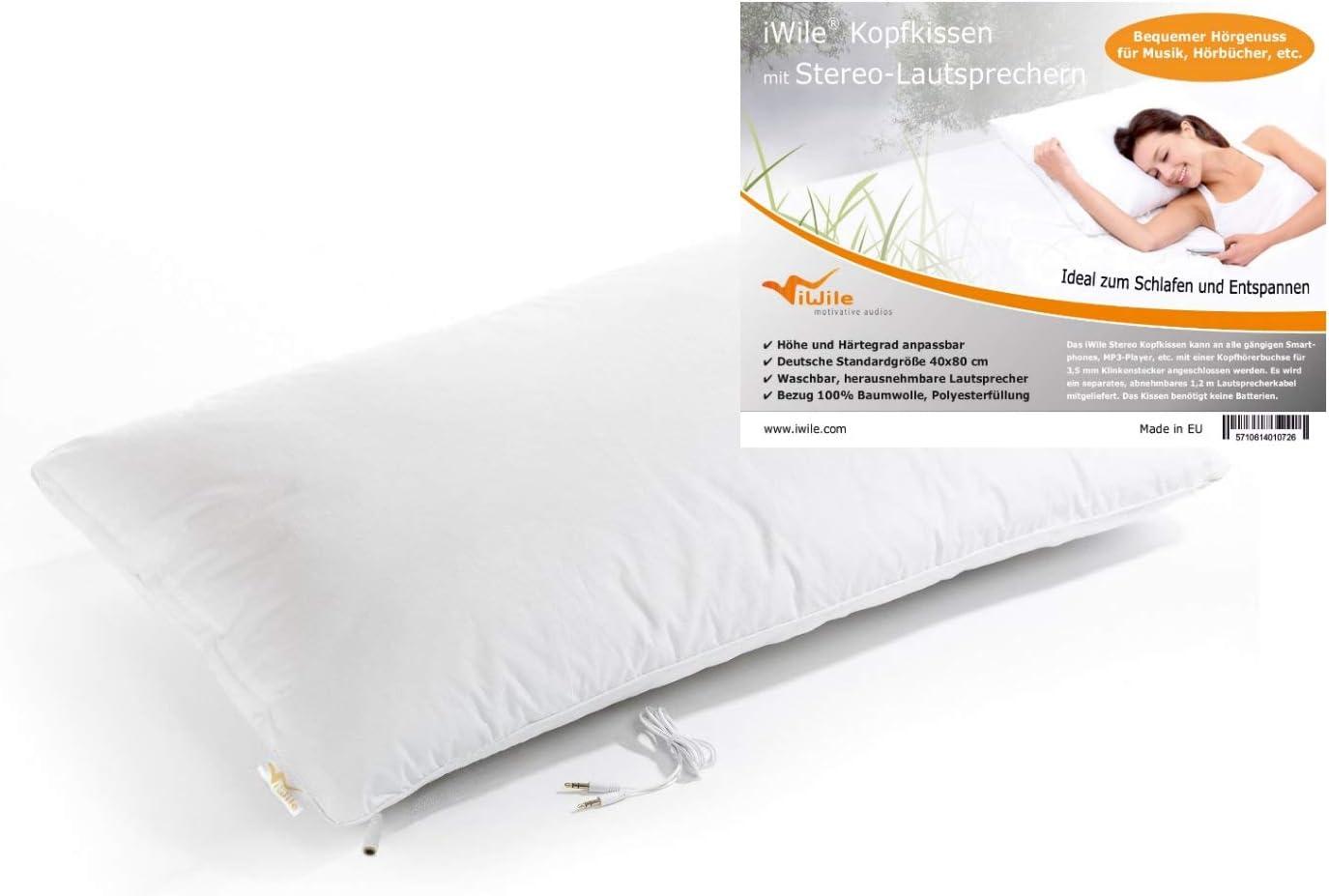 iwile almohada con altavoces estéreo extraíbles, lavable, para funda estándar 80x 40cm, fabricado en la ue