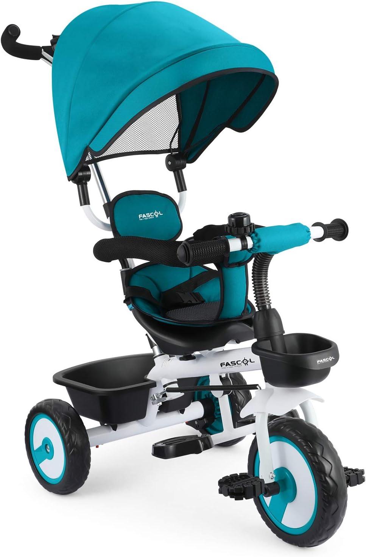 Fascol 4 en 1 Triciclo para Niños con Asiento Giratorio Adecuado para Mayores de 12 Meses - 5 años Capacidad de Carga 30KG (Azul)