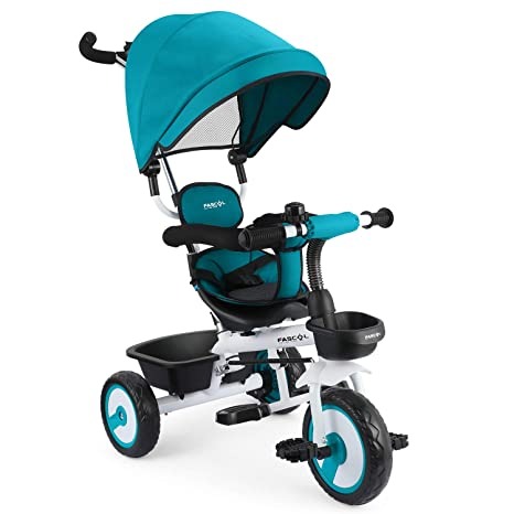 e41060001cc Fascol 4 in 1 Toddler Trike Kids Tricycle with Detachable Canopy Pushing  Handle Ride-on Trike Bike with Cup Holder, Blue: Amazon.co.uk: Toys & Games
