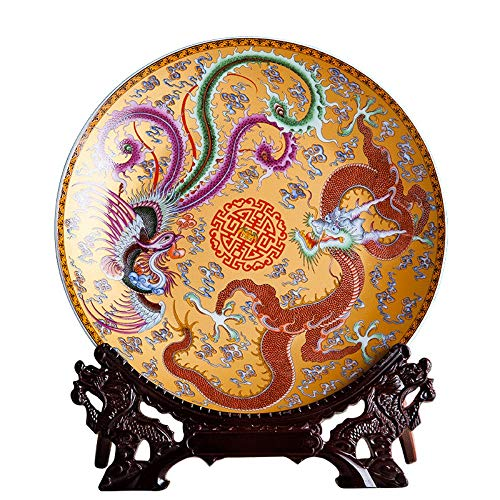 - Decorative Plate with Dragon Shaped Stand, Chinese Vintage Gold Dragon and Colorful Phoenix Painting, Handmade White Ceramic Art Decoration Ornament Plates for Display Living Room Table Decor