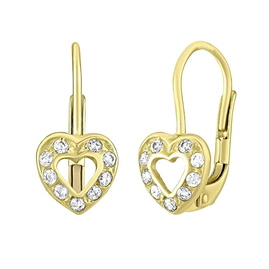 Mädchen Ohrringe aus Gelbgold 14 Karat (585) Herz mit Zirkonia
