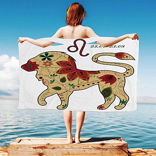 Astrology Quick Dry Plush Microfiber (Towel+Square Scarf+Bath Towel) Oriental Retro Floral Astrology Walking Leo Chic Colorful Sun Sign King Artsy Design and Adapt to Any Place