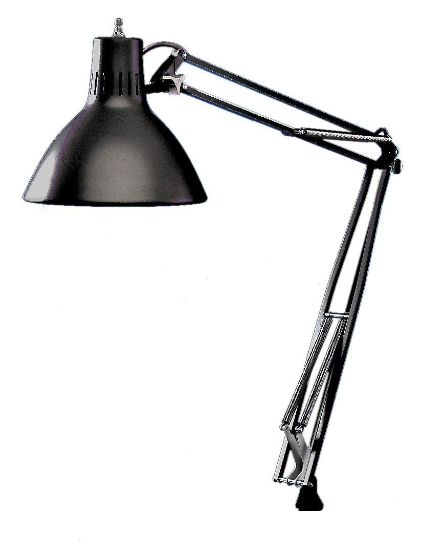 Luxo LS1ABK LS 23W CFL Task Light, 45'' Powder-Coated Arm with External Springs, Edge Clamp, Black
