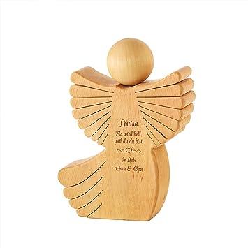 Engel Aus Holz Mit Gravur Zur Geburt Personalisiert Mit Namen