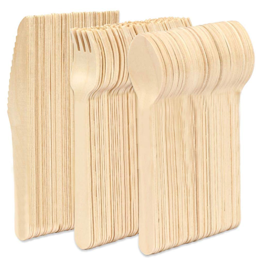 Wooden Cutlery Strong Disposable Wooden Cutlery 100/% Biodegradable 150 Pieces