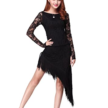 3ec3a09c7def9 Moresave Women Belly Dance Dress Latin Cha Cha Salsa Tassle Long Sleeve  Lace Dress