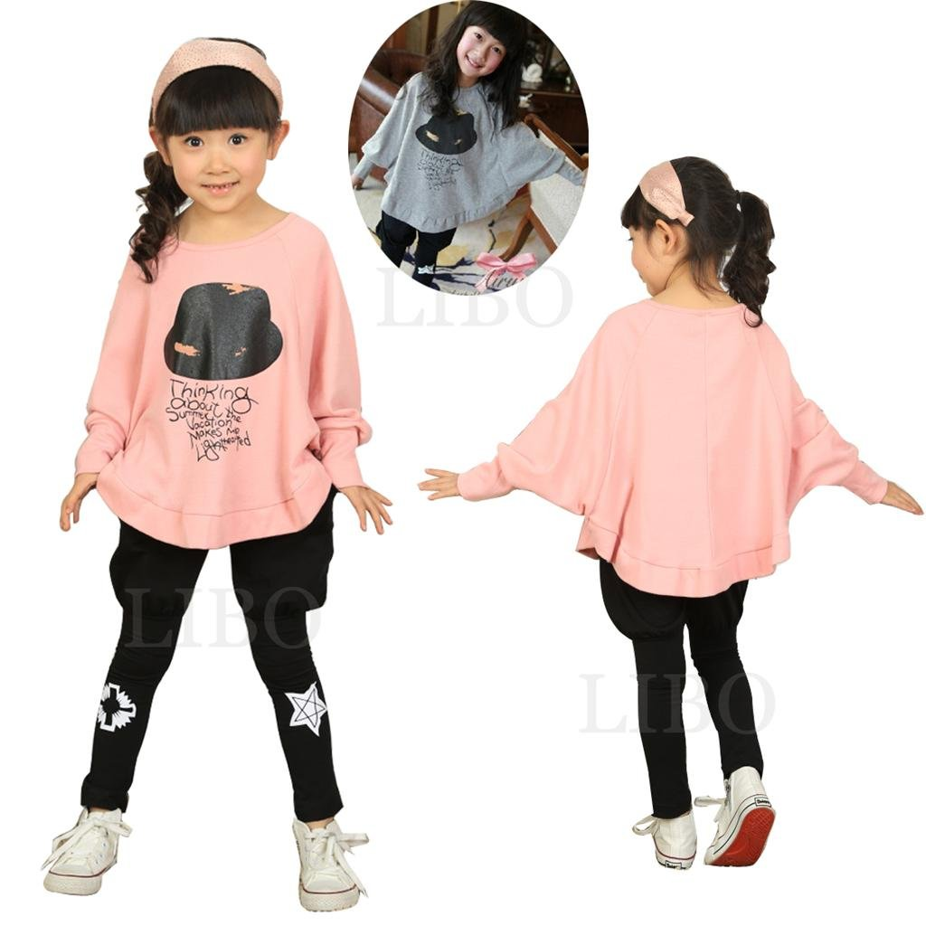 Baby Girls Kids Bat Wing Loose Blouse T-Shirt Tops Clothes sweater hat Pattern Libo BABBFS-120P
