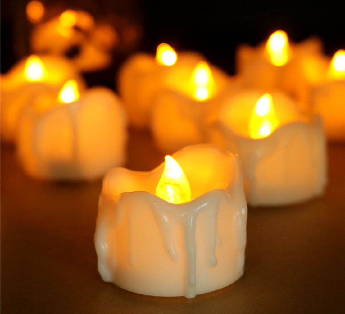 Allcute 12 Wax-drip Flameless Candle Tealights Battery Operated Long Burning, Amber Yellow Led Flickering Tea Lights Candles for Table Wedding Birthday Party Holiday Decorations