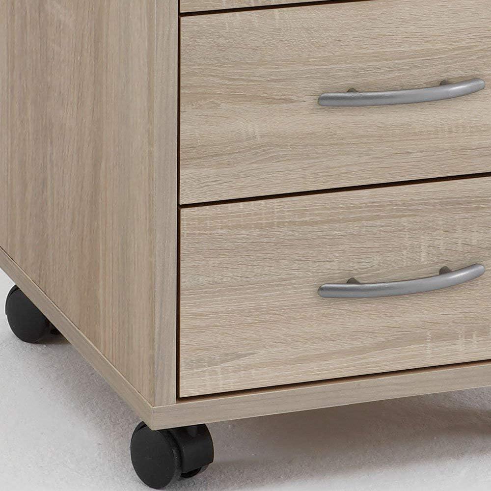 Melaminharz beschichtete Spanplatte BHT Ma/ße ca FMD furniture 336-001E 33 x 63,5 x 38 cm Beistellcontainer in Ausf/ührung Eiche Nachbildung