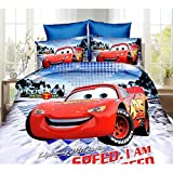 Ln 3 Piece Kids Cute Red Lightning McQueen Duvet Cover Twin Set, Cars Movie Bedding Racecar Themed Racing Pattern Black Tires Race Car Character Piston Cup, Polyester