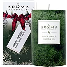 Aroma Naturals Holiday Essential Oil Pillar Candle, Juniper, Spruce and Basil, Fresh Forest, 2.5 inch x 4 inch