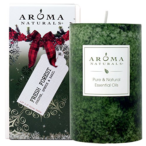 Aroma Naturals Holiday Essential Oil Pillar Candle, Juniper, Spruce and Basil, Fresh Forest, 2.5 inch x 4 inch ()