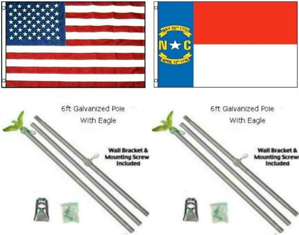 高価値 3 x 5 ' 3 ' x5 ' USA x American American W/ノースカロライナ州の状態フラグW/2つ6 '亜鉛メッキ旗竿ポールキットEagleトッパー B01N30KDCB, VIA TORINO インポートブランド:c6798d4c --- advertdigitalmantra.com