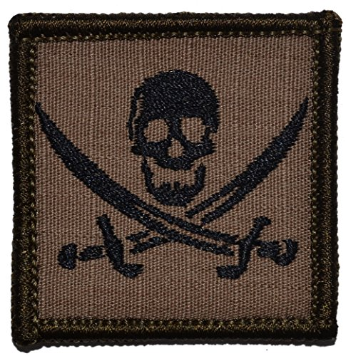 Pirate Jolly Roger Calico Jack 2x2 Morale Patch - Multiple Colors (Coyote Brown with - Patch Calico