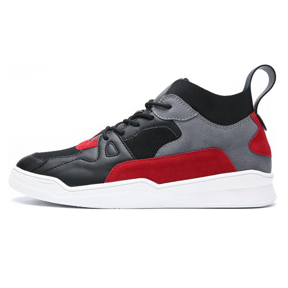 Men's Shoes Leather Spring Fall Outdoor High-Top Sneakers Hiking Shoe Comfort Light Soles Athletic Shoes Light Soles Running Shoes Lace-up Breathable Black Red, White Black ( Color : A , Size : 39 )