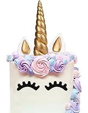 sedmart Licorne Gateau Decoration Gateau Licorne Deco Gateau Anniversaire Cake Topper Corne Patisserie Accessoire Gateau DIY Joyeux Anniversaire pour Enfant