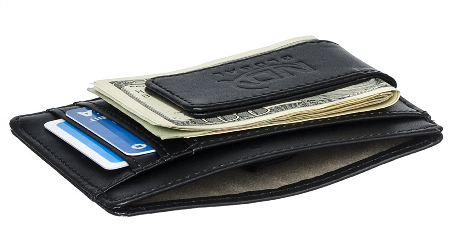High Quality Leather Magentic Money Clip Wallet & Credit Card Holder w/ RFID Blocking Technology.