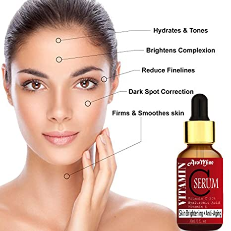 AroMine Vitamin C Facial Serum for Skin Brightening, Skin Nourishment, Dark  Spots Removal, Anti Acne, Anti Ageing & for Glowing Skin 30ml