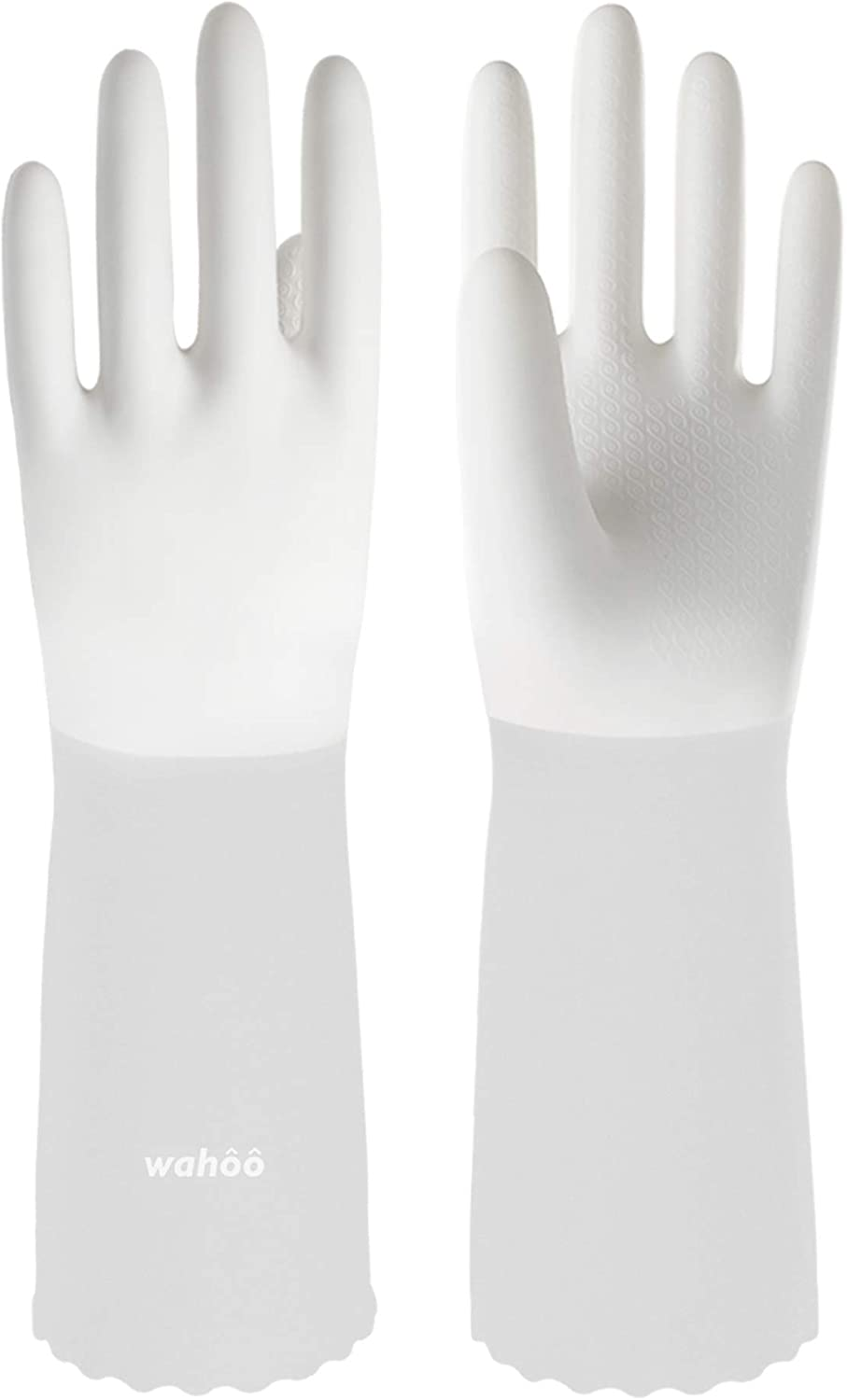 LANON Wahoo PVC Household Cleaning Gloves, Reusable Unlined Dishwashing Gloves, Semi Transparent Cuff, Non-Slip, Large