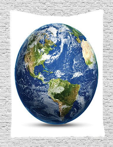 Ambesonne Science Room Decor Collection, Planet Earth Picture from Space Satellite Print, Bedroom Living Girls Boys Room Dorm Accessories Wall Hanging Tapestry, Navy Blue White (Planet Earth Print)