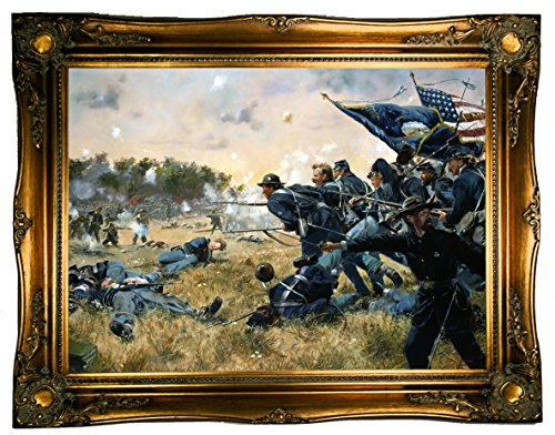Historic Art Gallery Attack of The 1st Minnesota at Gettysburg 1984 by Don Troiani Framed Canvas Print - Ornate Gold Gallery - 19x26 (1 Gold Framed Print)