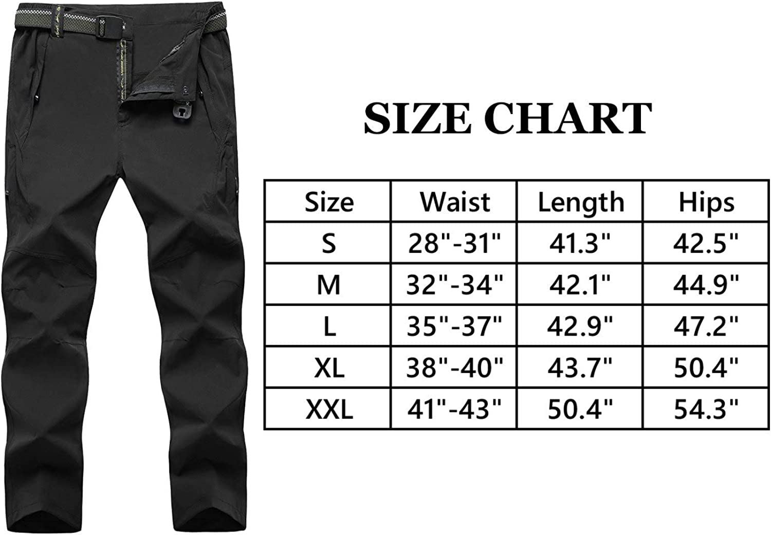 Rdruko Mens Outdoor Lightweight Waterproof Hiking Skiing Climbing Tactical Cargo Fleece Lined Pants with Belt